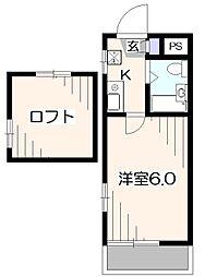 東京都東久留米市中央町1丁目の賃貸アパートの間取り