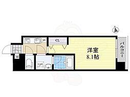 都営大江戸線 森下駅 徒歩6分の賃貸マンション 10階1Kの間取り