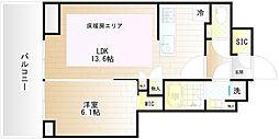 プラウドタワー武蔵小金井クロス EAST 12階1LDKの間取り