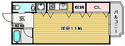 大阪府高槻市城北町2丁目の賃貸マンションの間取り