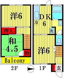 [テラスハウス] 埼玉県越谷市蒲生本町 の賃貸【/】の間取り