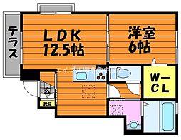 岡山県倉敷市水島明神町の賃貸アパートの間取り