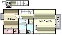 阪急神戸本線 六甲駅 徒歩9分の賃貸アパート 2階1LDKの間取り