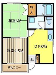 埼玉県富士見市下南畑の賃貸アパートの間取り