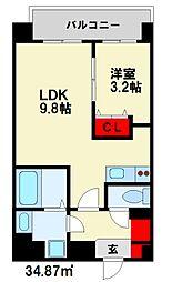西鉄天神大牟田線 雑餉隈駅 徒歩5分の賃貸マンション 5階1LDKの間取り