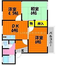 岡山県倉敷市水島東川町の賃貸アパートの間取り