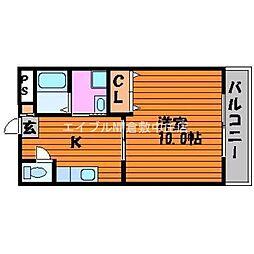 岡山県倉敷市水江の賃貸マンションの間取り