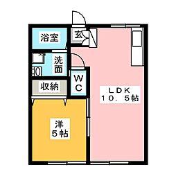 コーポみやび[1階]の間取り