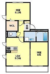 愛知県みよし市三好町弥栄の賃貸アパートの間取り