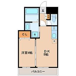 コモンリード華孝 3階1DKの間取り