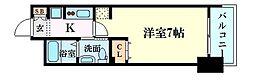 エステムコート新大阪Xザ・ゲート 2階1Kの間取り