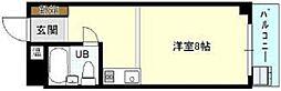 近鉄南大阪線 上ノ太子駅 徒歩5分の賃貸マンション 2階1Kの間取り