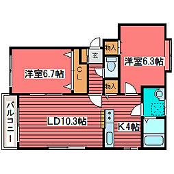 プラティコ福住[2階]の間取り