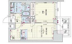 Osaka Metro谷町線 四天王寺前夕陽ヶ丘駅 徒歩5分の賃貸マンション 6階1LDKの間取り