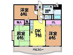 愛媛県東温市見奈良の賃貸マンションの間取り