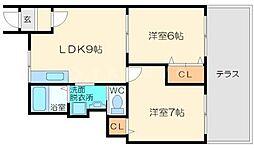 コスモハイツセブン[1階]の間取り
