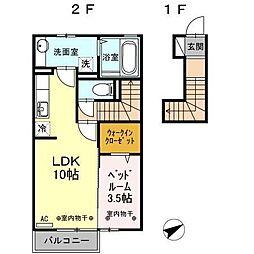 富山県富山市町新の賃貸アパートの間取り