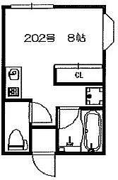 大阪府枚方市招提中町1丁目の賃貸アパートの間取り