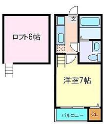 グランコンフォール花京院II 2階1Kの間取り