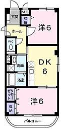 バージンブリッジII 3階2DKの間取り