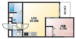 阪急宝塚本線 服部天神駅 徒歩7分の賃貸テラスハウス 3階1LDKの間取り