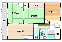 新栄プロパティー軽里[3階]の間取り