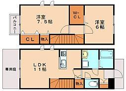 福岡県福岡市南区若久6丁目の賃貸アパートの間取り