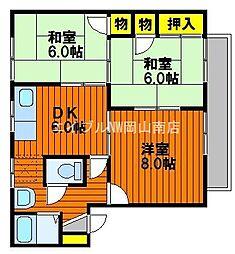 クレフォート溝口[2階]の間取り