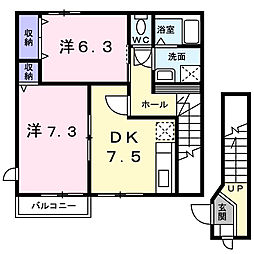 香川県観音寺市南町5丁目の賃貸アパートの間取り