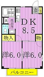 千葉県柏市関場町の賃貸マンションの間取り
