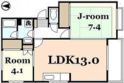 広島県広島市東区戸坂数甲1丁目の賃貸アパートの間取り