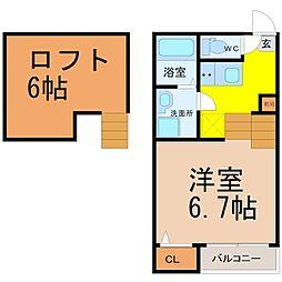 名古屋市営名城線 堀田駅 徒歩10分の賃貸アパート 2階1SKの間取り