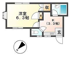 東京都日野市豊田4の賃貸アパートの間取り