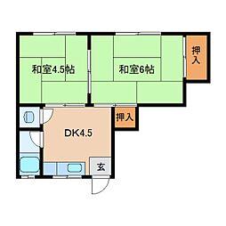 奈良県生駒市新旭ケ丘の賃貸アパートの間取り
