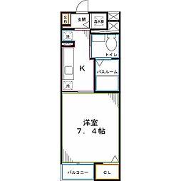 西武国分寺線 恋ヶ窪駅 徒歩6分の賃貸マンション 2階1Kの間取り