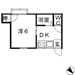フレンド紫竹[103号室]の間取り