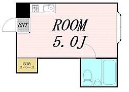 京橋ハイツ30 2階ワンルームの間取り