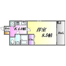 広島電鉄9系統 白島駅 徒歩6分の賃貸マンション 4階1Kの間取り