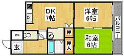 ライブコート三国ヶ丘 4階2DKの間取り