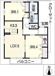 カーサクレインC[1階]の間取り