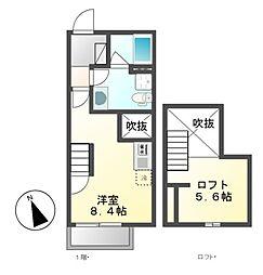 コテージカワマ(Cottage Kawama[2階]の間取り