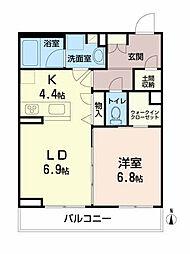 ベレオ愛子中央 2階1LDKの間取り