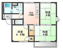 メゾンドールB[2階]の間取り