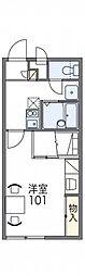 レオパレス三葛II 2階1Kの間取り