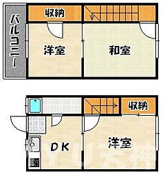 [テラスハウス] 福岡県福岡市早良区西新6丁目 の賃貸【/】の間取り
