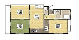 ナナツマチコーポA棟[2階]の間取り