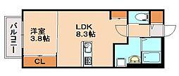 カーサ朝倉街道1 2階1LDKの間取り