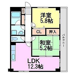 エスティヴァン武庫之荘[1階]の間取り