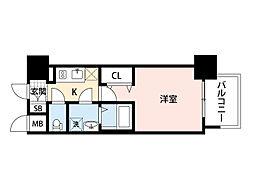 JR東海道・山陽本線 岸辺駅 徒歩4分の賃貸マンション 4階1Kの間取り