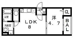 ルネッサ八尾南[202号室号室]の間取り